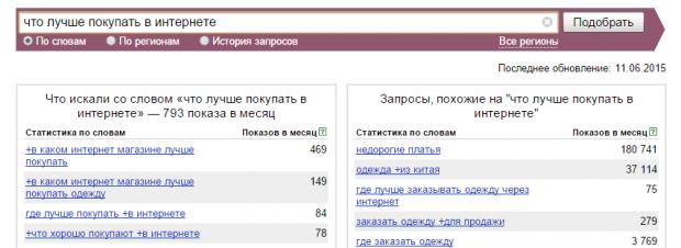 Интерфейс Яндекс Wordstat (сервис подбора слов)